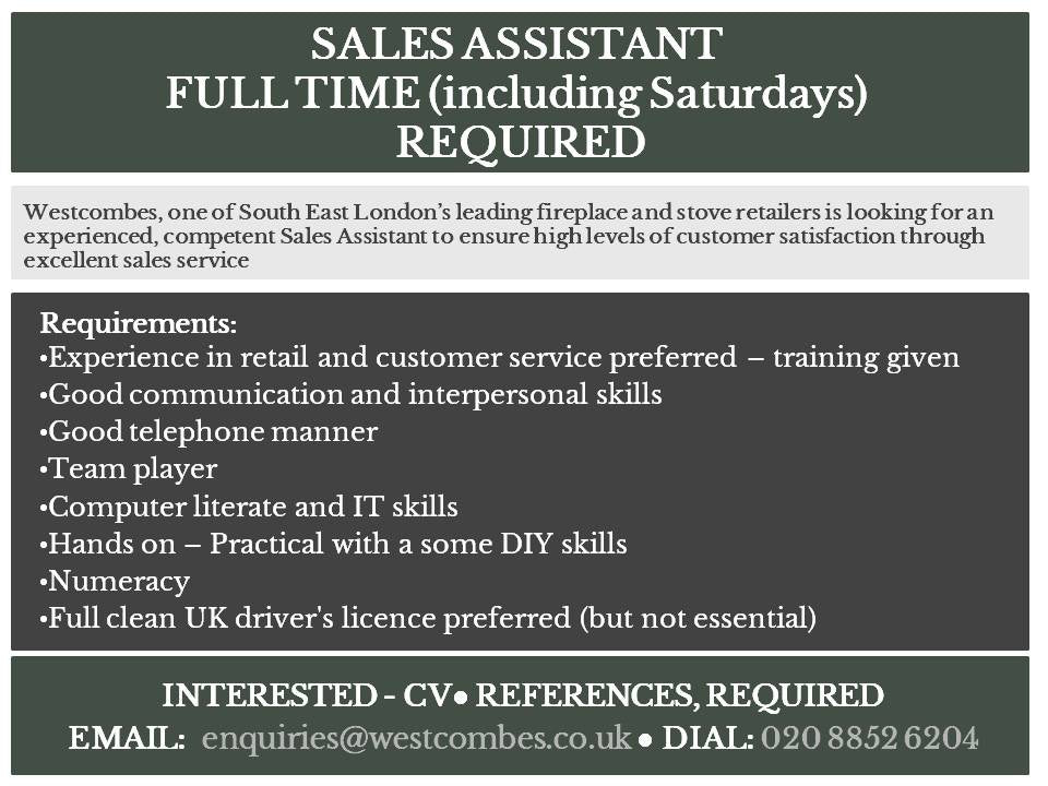 Job Post - Full Time Sales Assistant (including Saturdays)