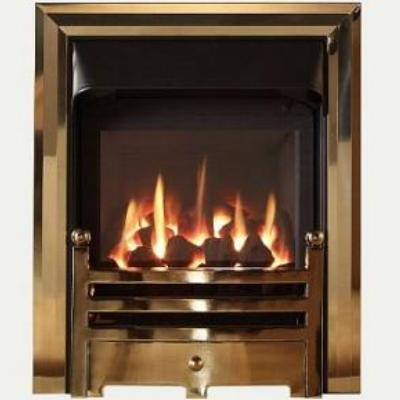 Glass Fronted Gas Convector  Fire - Antique Brass