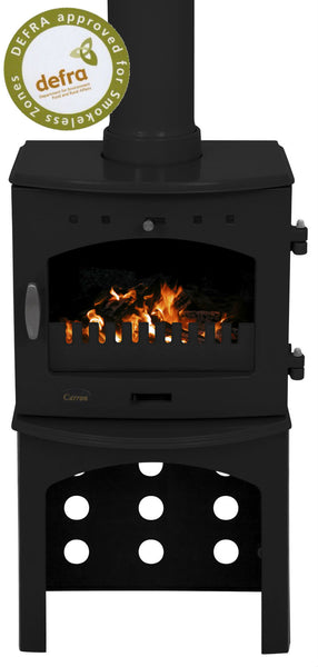 Ex Display Carron 4.7Kw  - Multi Fuel Stove  Black Enamel , Stove Pipe & Logstore