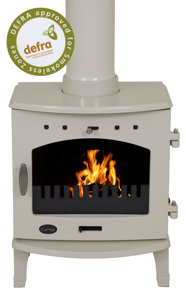 Ex Display  Carron 4.7Kw  - Multi Fuel Stove Cream Enamel & Stove Pipe