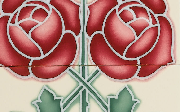 Tube Lined & Raised Line Tiles - Rose and Bud Fireplace Tile Set