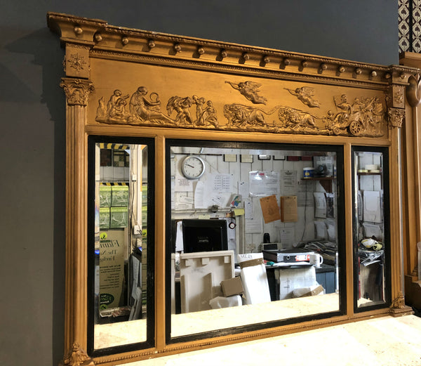 Early Victorian Gilt Triple Plate Overmantel Mirror