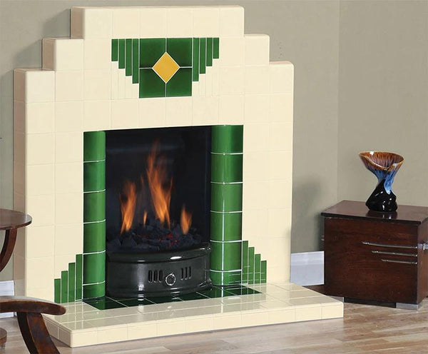 Wyndham Art Deco All Tiled Fireplace