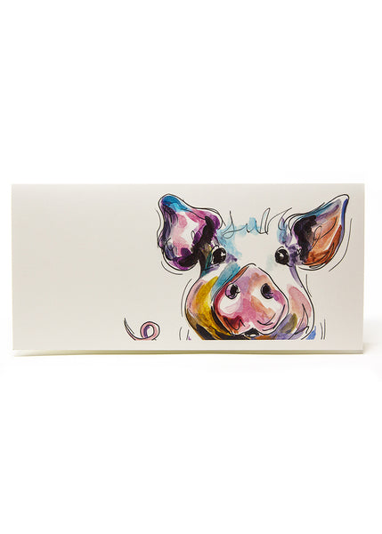 'Prudence' the Pig - A Greeting Card by Susan Leigh