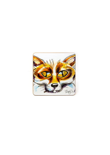 'Frederic' the Fox - A Melamine Coaster by Susan Leigh