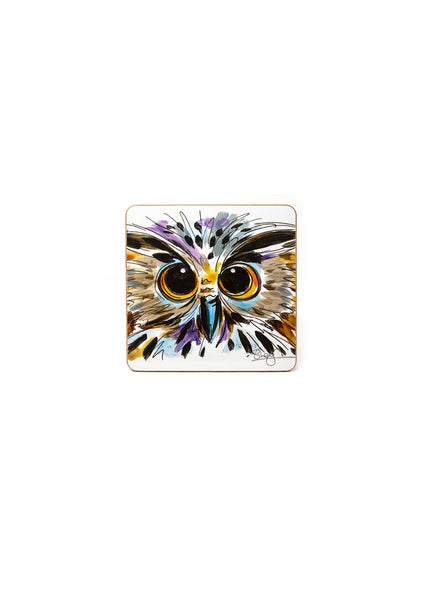 'Oswald' the Owl - A Melamine Coaster by Susan Leigh