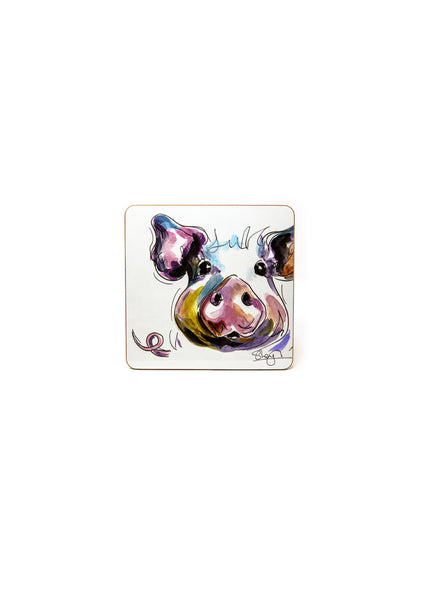 'Prudence' the Pig  - A Melamine Coaster by Susan Leigh