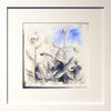 Blue Abstract with White Frame and White Mount