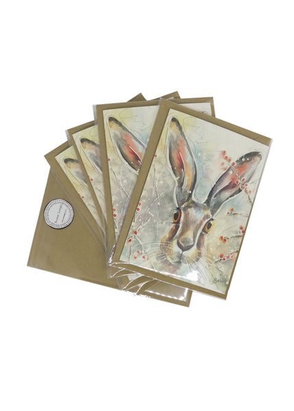 Christmas Hare - Pack of Five Christmas Cards by Susan Leigh