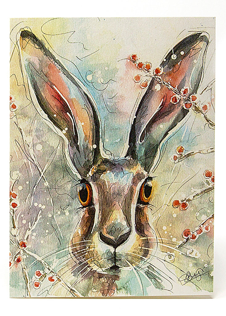 Christmas Hare - A Christmas Card by Susan Leigh