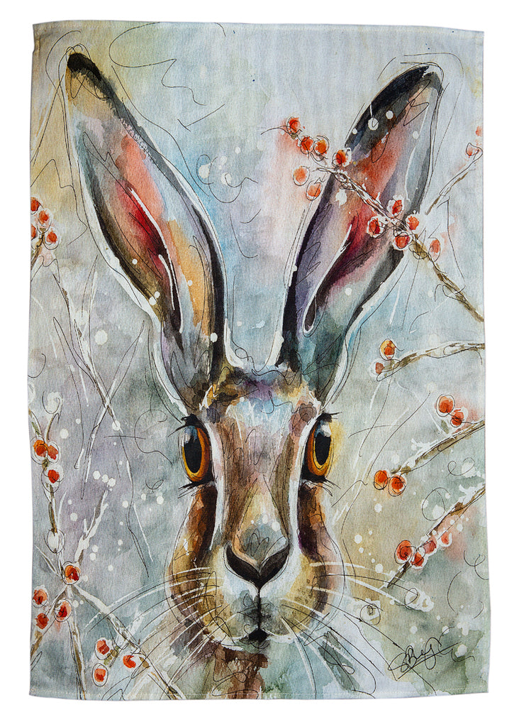 Christmas Hare - A Tea Towel by Susan Leigh