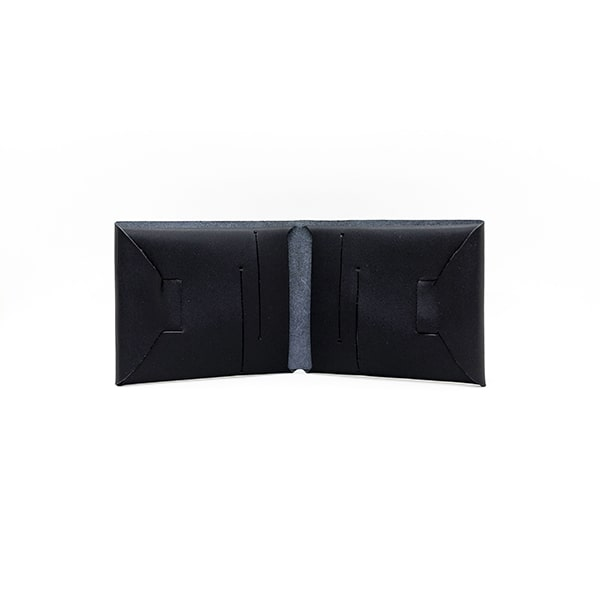 portefeuille en cuir recyclé origami WOODSTAG leather wallet noir