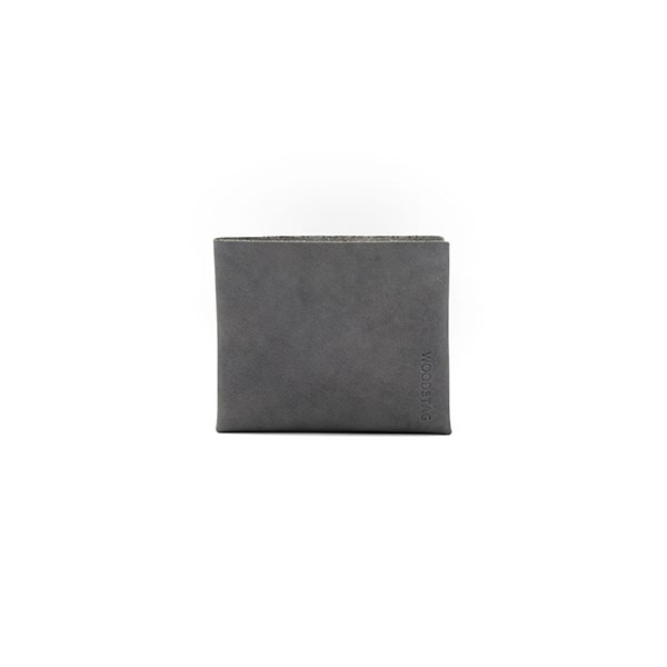 portefeuille en cuir recyclé origami WOODSTAG leather wallet gris