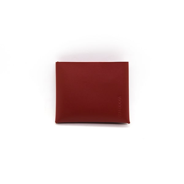 portefeuille en cuir recyclé origami WOODSTAG leather wallet rouge
