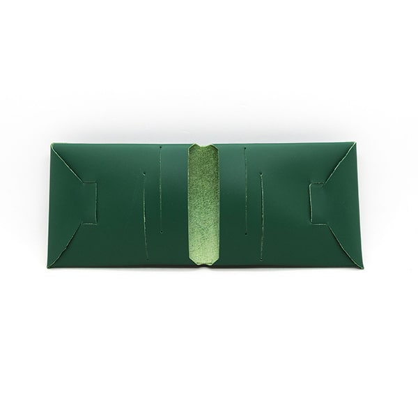 portefeuille en cuir recyclé origami WOODSTAG leather wallet vert