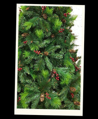 Green Norwegian Flock Artificial Christmas tree. 6.5ft tall