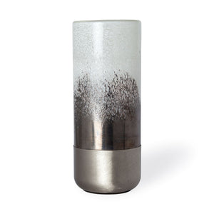 BALTIC I TALL WHITE BRUSHED SILVER METAL BOTTOM GLASS VASE