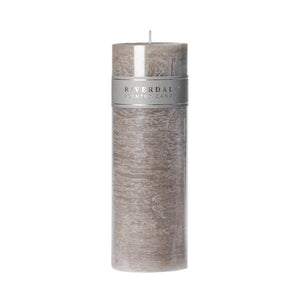 CANDLE PILLAR L.GREY 7.5X23CM