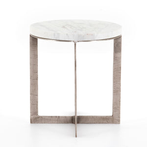 LENNIE ROUND ACCENT TABLE -BRUSHED NICKEL