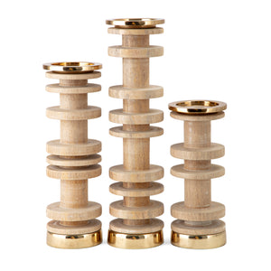 VISBY WOOD CANDLEHOLDERS - SET OF 3