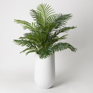 ′ HAWAIIAN PALM FRONDS IN ROUND WHITE RESIN PLANTER
