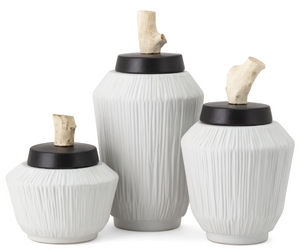 WAWONA CERAMIC AND WOOD VASES  - SET OF 3