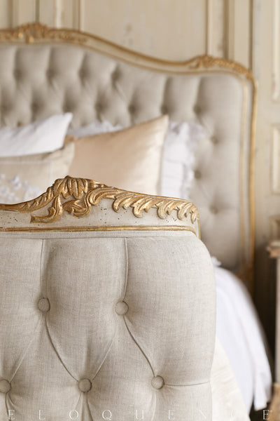 SOPHIA KING BED IN GOLD/TAUPE TWO-TONE