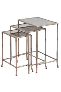 NEST OF TABLES - SET OF 3 IN SILVER FINISH