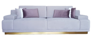 GREY VELVET THREE SEATER SOFA - PURPLE PILLOWS