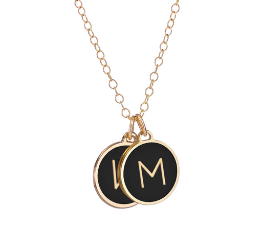 An Initialed Double Disc Enamel Coated Necklace - Love Edition
