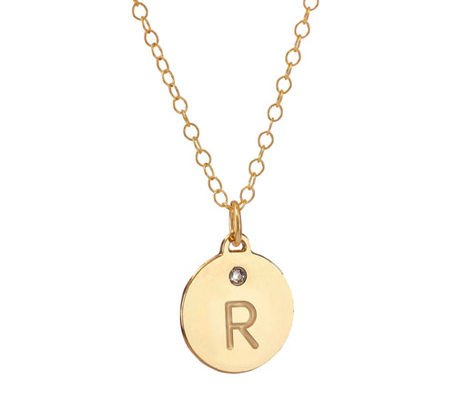 Initialed Disc Necklace with a Swarovski Gemstone Special for Bridesmaids