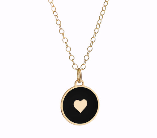 Lovers Heart- Enameled Disc Heart Necklace