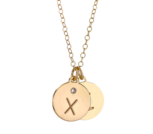 An Initialed Double Disc Necklace with a Swarovski Gemstones - Love Edition.