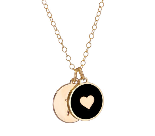Initial & Heart - Double Disc Necklace - Love Edition