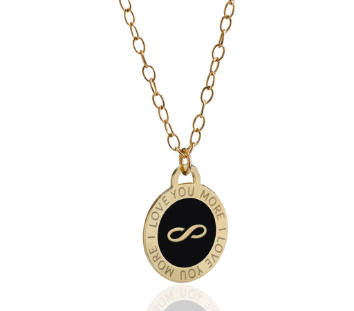 Endless Love- An Enameled Disc Necklace with an Infinity Symbol