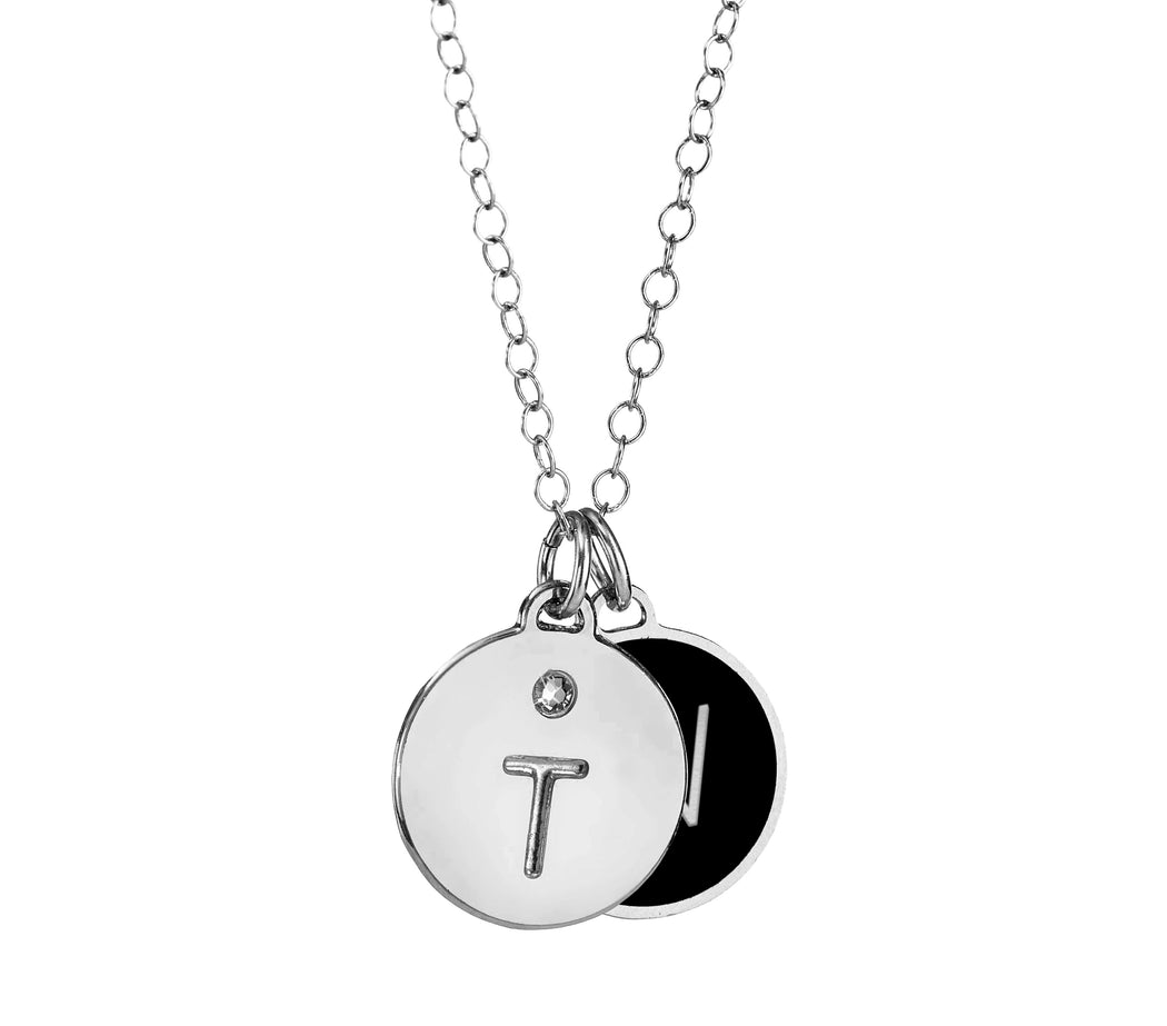 Lovers - Double Disc Necklace - Initial Engraved Enamel Coated Disc with a Swarovski gemstone