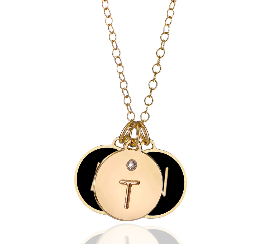 An Initialed Triple Disc Enamel Coated Necklace