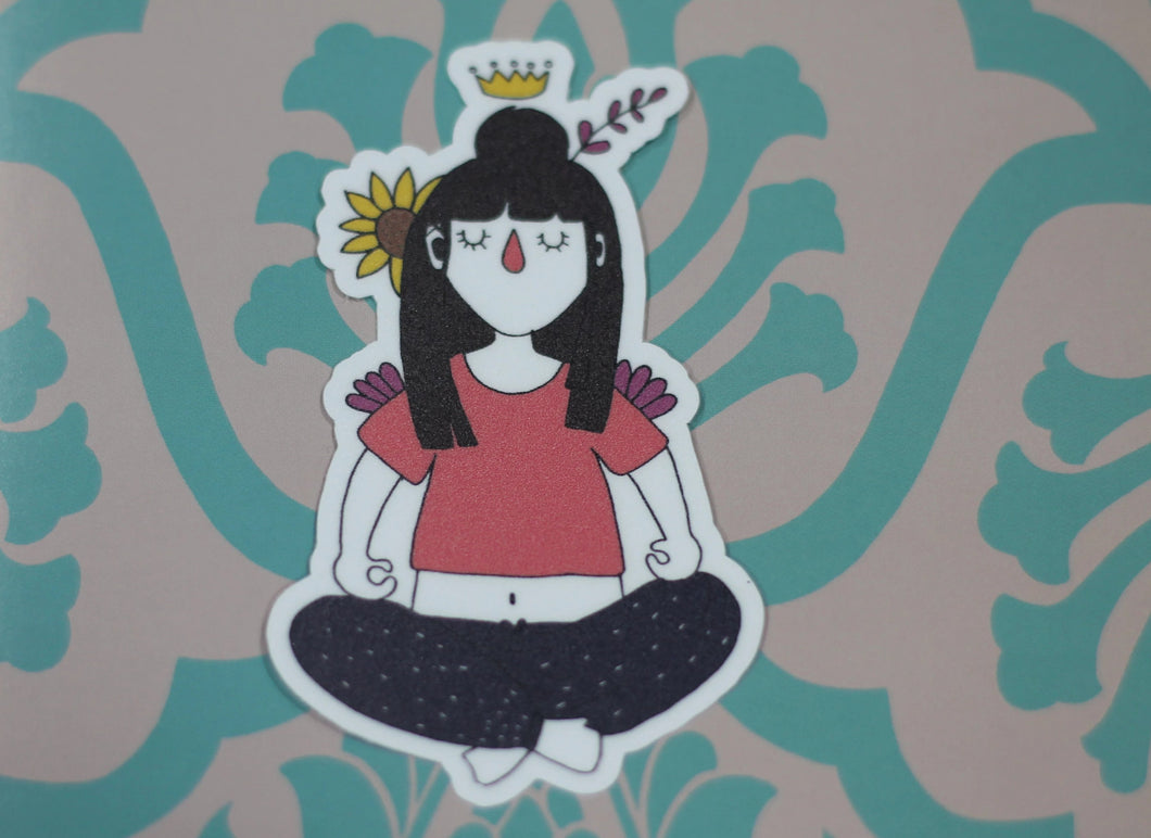 Maitu Meditating : Monki Laptop Sticker