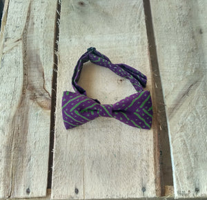 Monki Bow Tie : Purple and Green Geometric