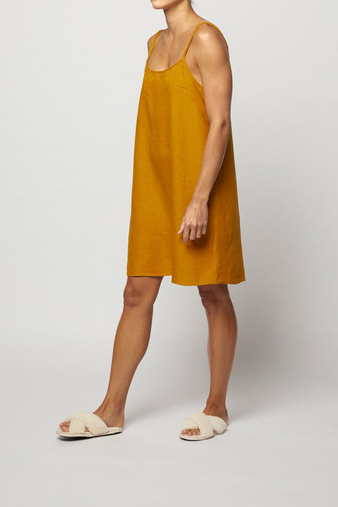 Naples Gold French Linen Slip Dress