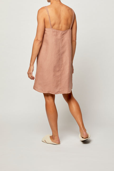 Tuscan Pink French Linen Slip Dress