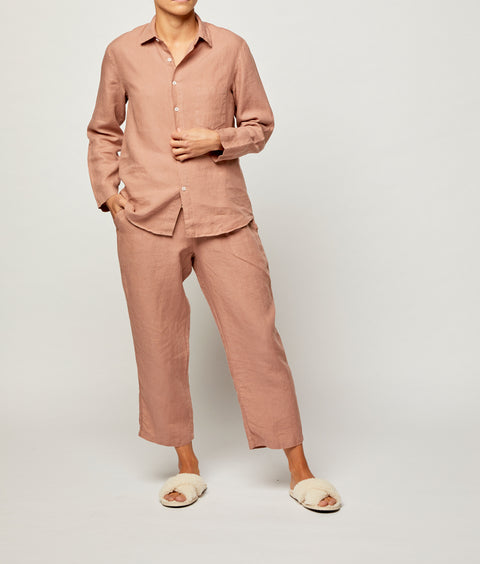 Tuscan Pink French Linen Long Pyjama Set