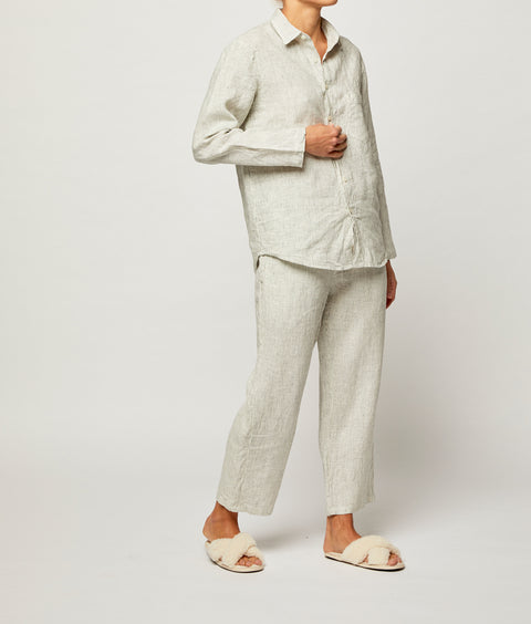 Pinstripe French Linen Long Pyjama Set