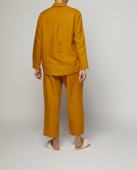 Naples Gold French Linen Long Pyjama Set