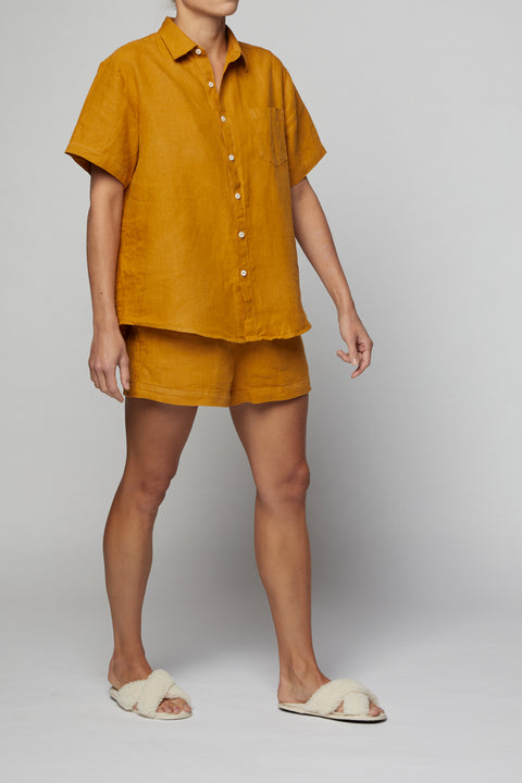 Naples Gold French Linen Short Pyjama Set
