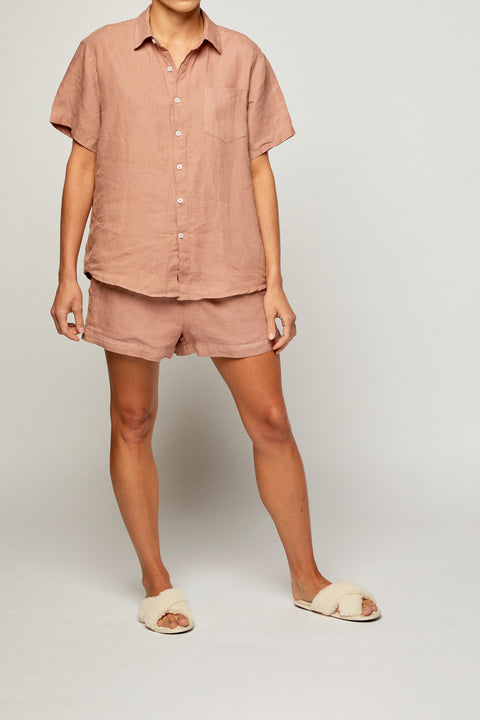 Tuscan Pink French Linen Short Pyjama Set