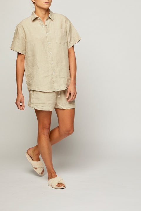 Sicilian Stone French Linen Short Pyjama Set