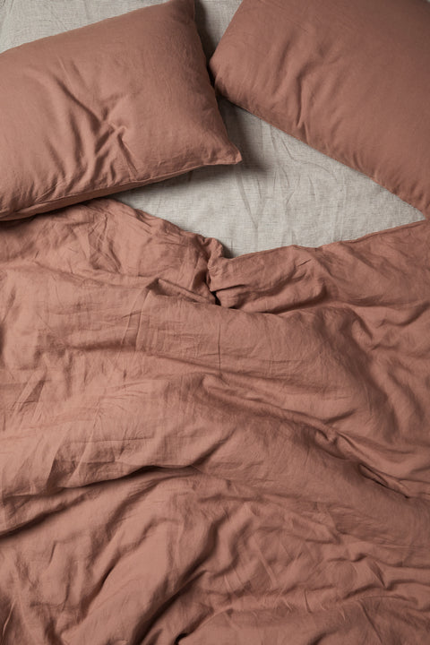 Tuscan Pink French Linen Duvet Set