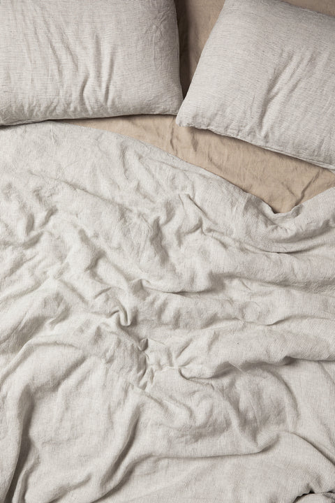 Pinstripe French Linen Duvet Set