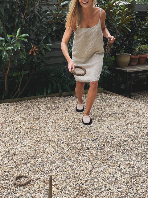 Sicilian Stone French Linen Slip Dress